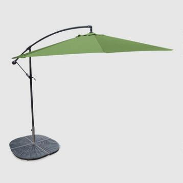 10' Olive Cantilever Umbrella and Weight Base